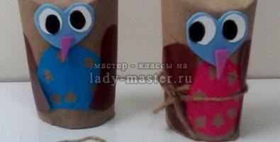 Поделка — сова из втулки от туалетной бумаги