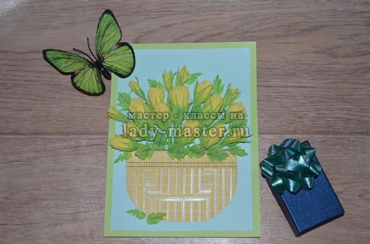 Аппликация (панно) «Желтые розы» из крепированной бумаги
