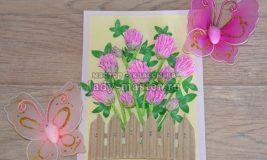 Объемное панно «Цветущий клевер» из крепированной бумаги