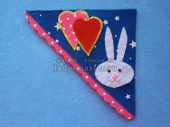 закладка из фетра с зайчиком и сердечками фото