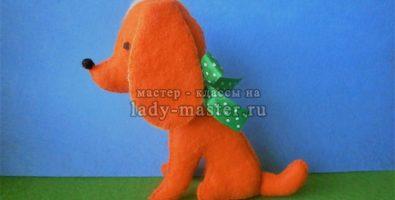 Рыжий щенок из фетра
