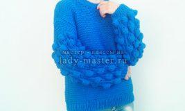 Как связать свитер с узором малинки на рукавах