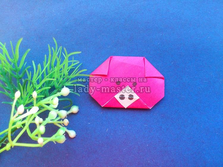 Поросенок оригами — поделка для детей