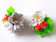 Цветочки с ягодками — резиночки для волос