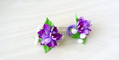 В преддверии весны! Резиночки для волос из фоамирана с сиреневыми цветами