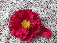 Повязка с красным цветком на пучок или гульку из волос