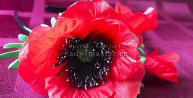 Весенний ободок с цветком мака своими руками