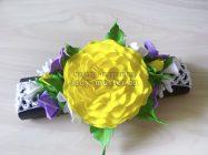 Повязка на голову для девочки с ярким желтым цветком