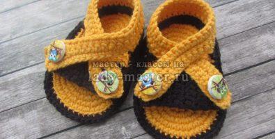 Простые сандалики крючком — подробное описание вязания