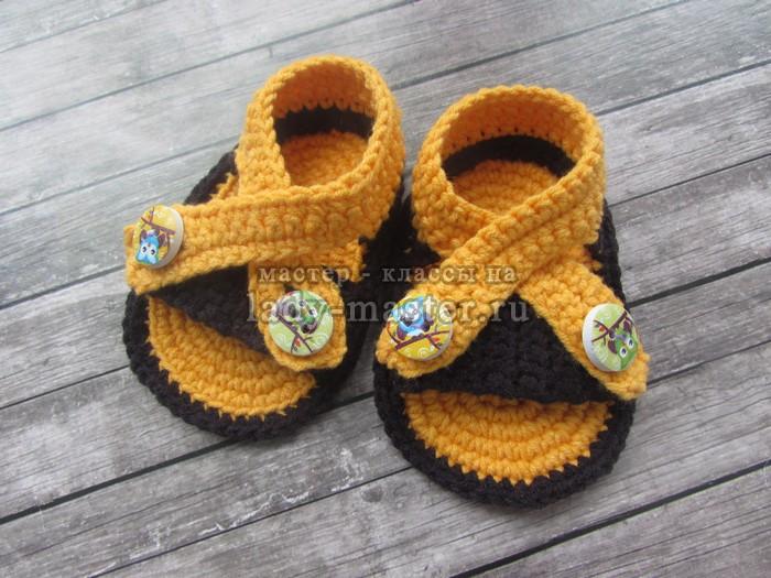 Простые сандалики крючком — подробное описание с фото