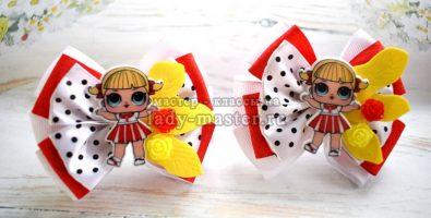 Бантики с куколкой ЛОЛ для девочки из атласных лент