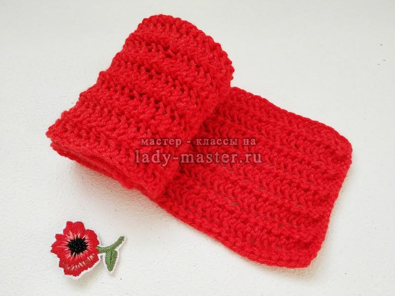 Яркий ажурный шарф спицами