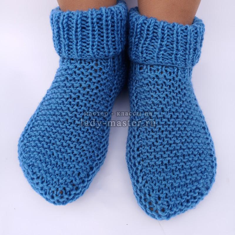 Тапочки – носочки спицами для теплой зимы