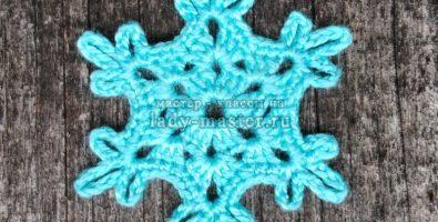Самая простая снежинка крючком — схема и описание