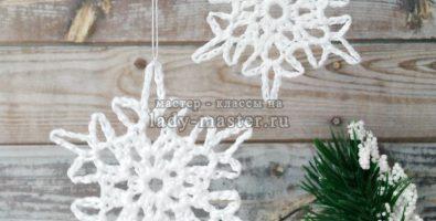 Снежинка крючком на ёлку — схема №7