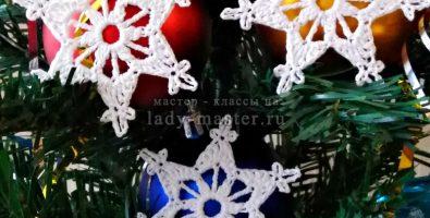 Снежинка крючком — схема и описание №4