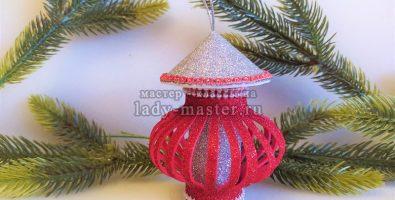 Новогодний фонарик из фоамирана своими руками