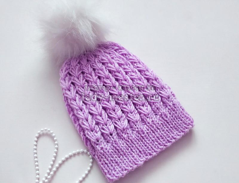 Модная шапочка с объемным узором «колоски»