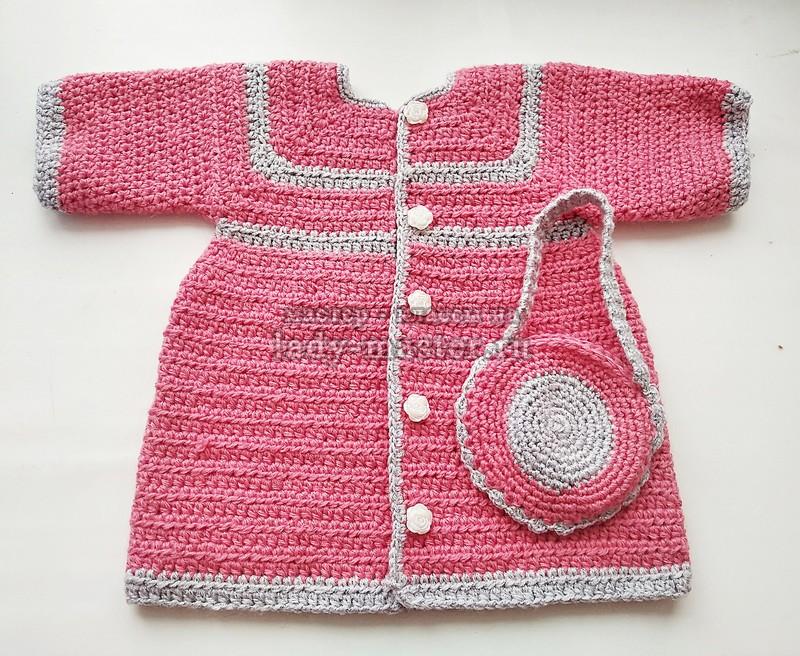 Весеннее пальто и сумочка для девочки крючком