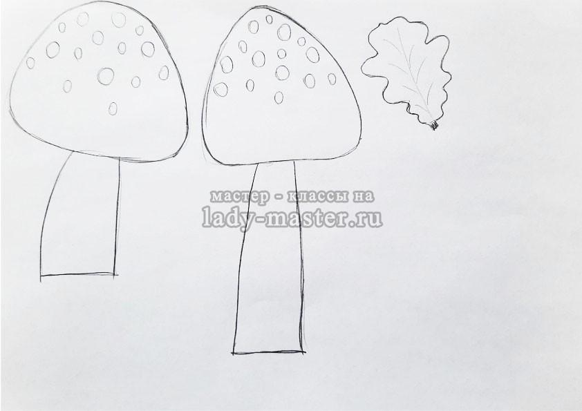 шаблон гриба для аппликации мухомор