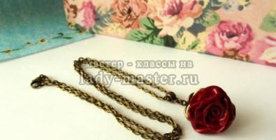 Кулон «Роза» из полимерной глины своими руками