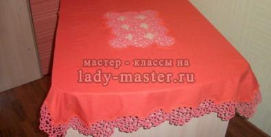 Скатерть из льняной ткани с орнаментом фриволите своими руками