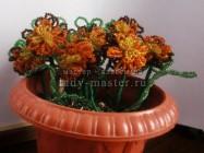 Цветы из бисера: бархатцы своими руками