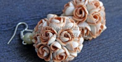 Цветочные букеты (шары) из полимерной глины. Пошаговый фото урок о создании сережек из пластики