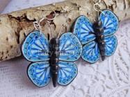 Голубая бабочка из полимерной глины. Составление сложной трости с рисунком крыла бабочки