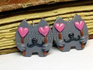 Серьги из полимерной глины «Влюбленные коты»