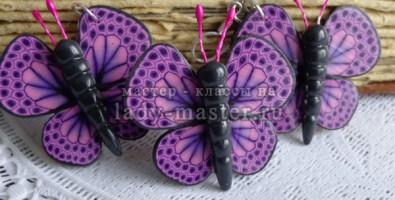 Бабочки из полимерной глины. Составление трости из полимерной глины с рисунком крыла бабочки.