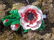 Заколка с крупными объемными цветами из полимерной глины своими руками