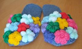Домашние тапочки «Цветочная поляна» своими руками
