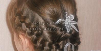 Прическа для девочки из  французских объемных кос