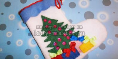 Новогодний сапожок для подарка из ткани своими руками