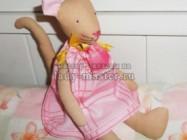Кошечка тильда в розовом платье