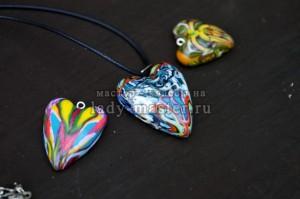 Кулон «Сердце» из полимерной глины ко Дню всех влюбленных