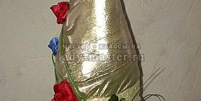 Бутылка шампанского на свадьбу своими руками