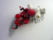 Заколка в волосы с новогодним декором своими руками