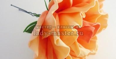 Шпилька для волос с розой из фоамирана своими руками