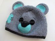 Теплая шапка «Плюшевый Мишка Тедди» крючком