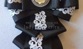 Школьный черно-белый галстук из лент к 1 сентября