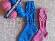 Как связать носки с красивым узором спицами