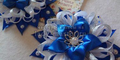 Нарядные заколки с цветочками из лент
