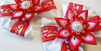 Канзаши к 14 февраля – нарядные бантики с сердечками