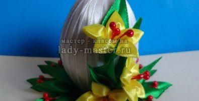 Пасхальное яйцо в стиле канзаши своими руками