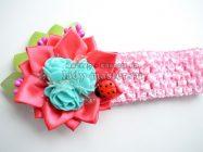 Детская повязка на голову с простым цветком из атласных лент