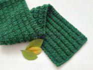 Двусторонний теплый шарф спицами