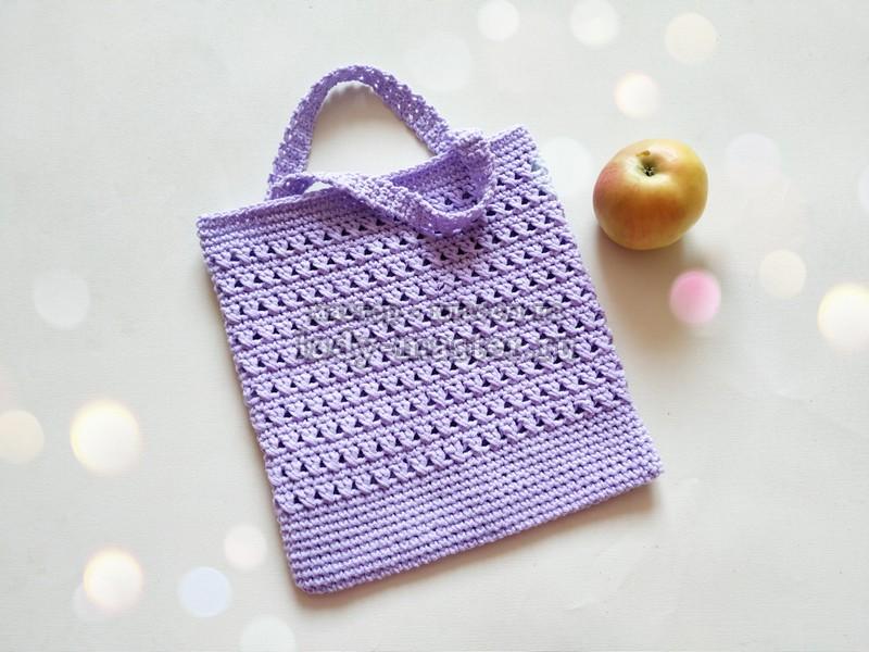 Летняя сумка, связанная крючком ажурным узором