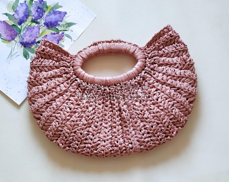 Модная сумка из рафии крючком